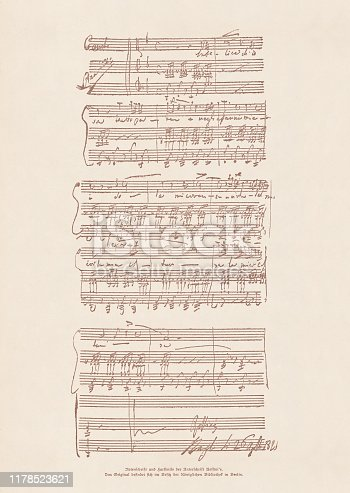 Facsimile of an original manuscript by the Italian composer Gioachino Rossini (1792 - 1868). Published in 1885.