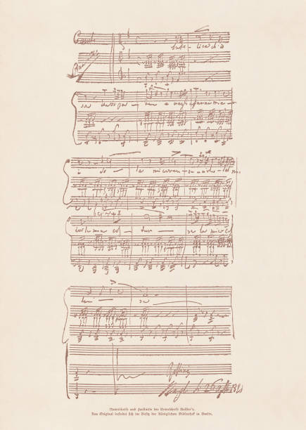 an original manuscript by gioachino rossini (1792-1868), facsimile, published 1885 - zapis nutowy stock illustrations
