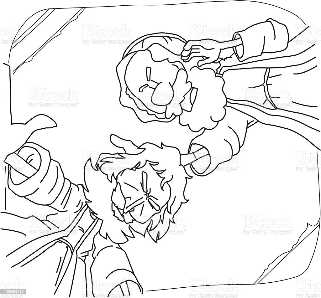 Childrens coloring sheet of saul and ananias - Ananias Helped Saul S Conversion For Coloring Royalty Free Stock Vector Art