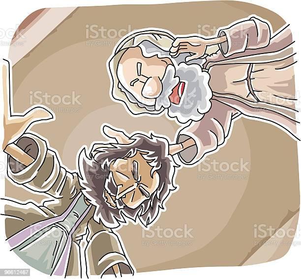 Ananias Aiutato Saul Di Conversione - Immagini vettoriali stock e altre immagini di Adulto