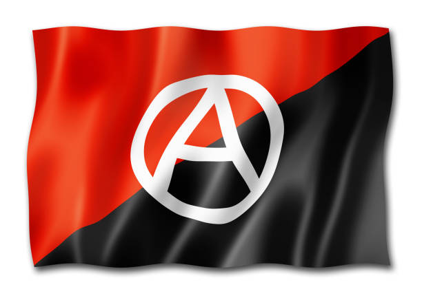 Anarchy flag isolated on white Anarchy flag, three dimensional render,  isolated on white anarchy symbol stock illustrations