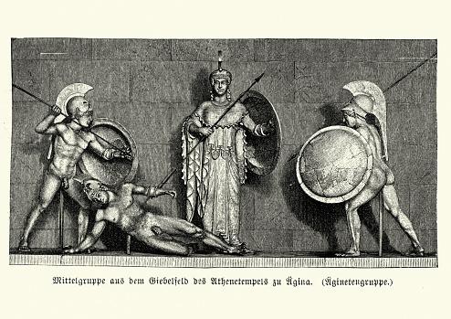 Anceint Greek warrors before the Goddess Athena