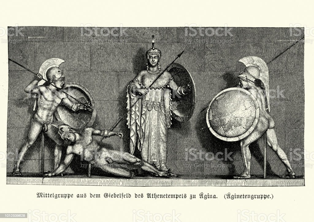 Anceint Greek warrors before the Goddess Athena vector art illustration