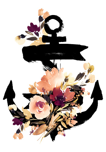 Anchor with watercolor roses on a striped white blue background for decoration of cards, print for T-shirt.