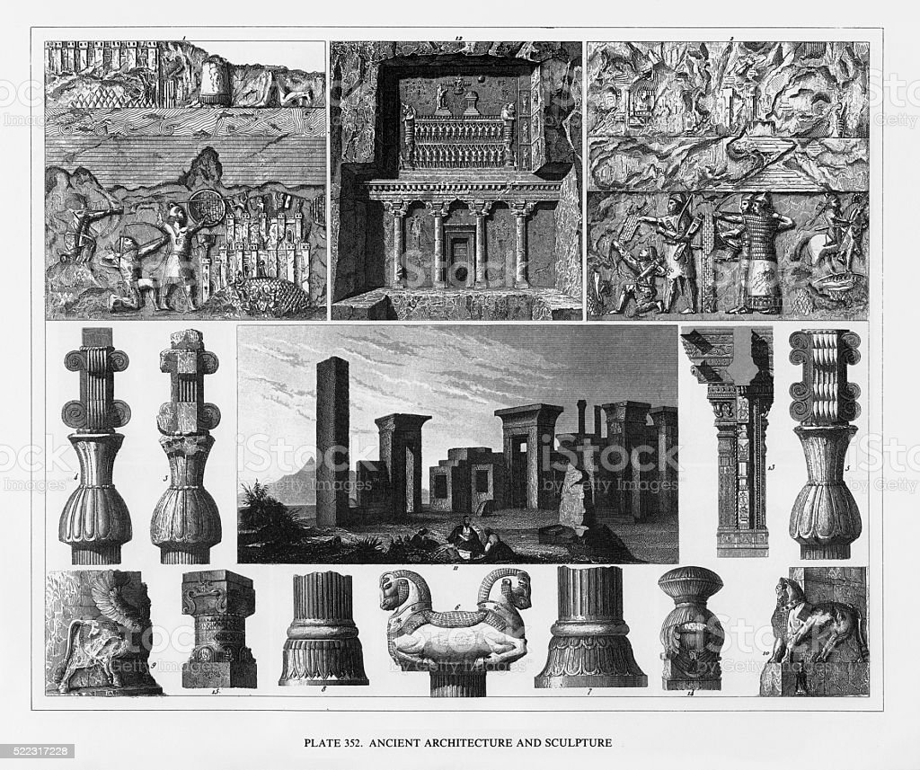 Ancient Architecture and Sculpture Engraving vector art illustration