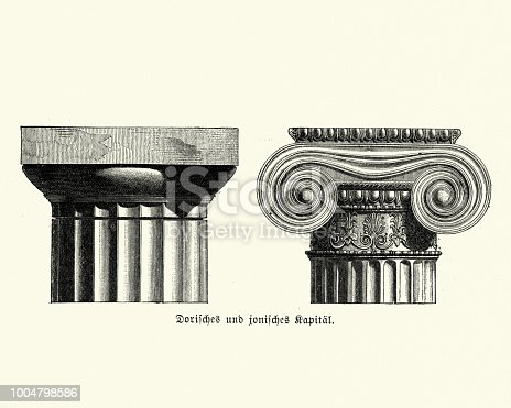 Vintage engraving of Ancient Architecture, Column Capitals, Doric and Ionic order