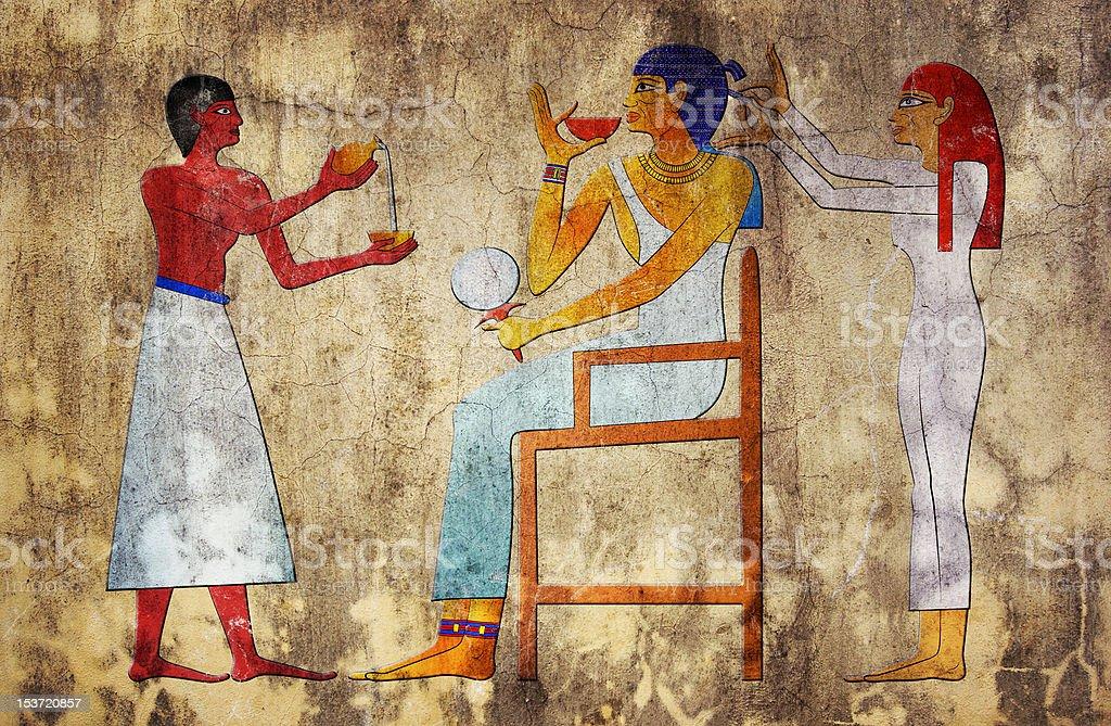 Ancient art depicting an Egyptian hairdresser vector art illustration