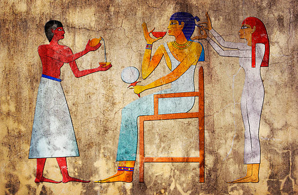 Ancient art depicting an Egyptian hairdresser Image of the hairdresser of ancient Egypt ancient egyptian culture stock illustrations