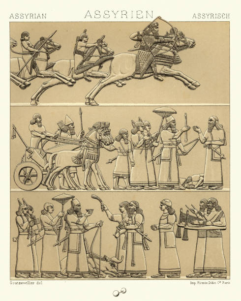 Ancient Assyrian, Kings and lords, Hunting and at War vector art illustration
