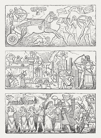 Ancient Assyrian reliefs, wood engravings, published in 1880