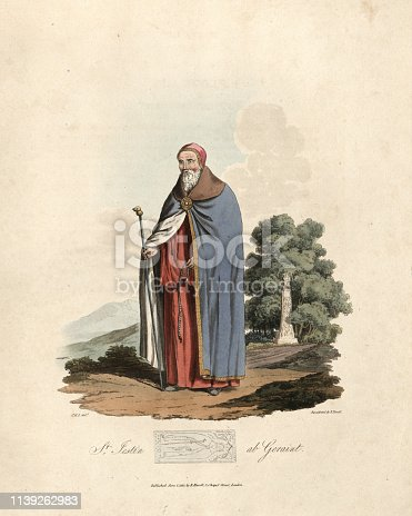 Vintage engraving of St. Iestyn (sometimes recorded as Iestin or the Latin form Justinus) a Welsh hermit and confessor in the 6th or 7th century who is venerated as a saint. 1815, The Costume of the Original Inhabitants of the British Islands, by MEYRICK, Samuel Rush and SMITH Charles Hamilton.
