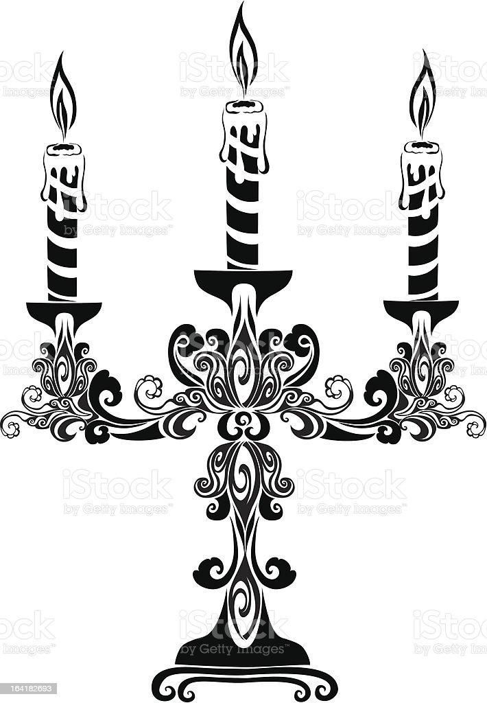 Ancient candelabrum vector art illustration