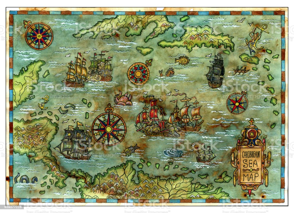 Ancient Caribbean Sea Map With Pirate Ships And Islands Stock Vector ...