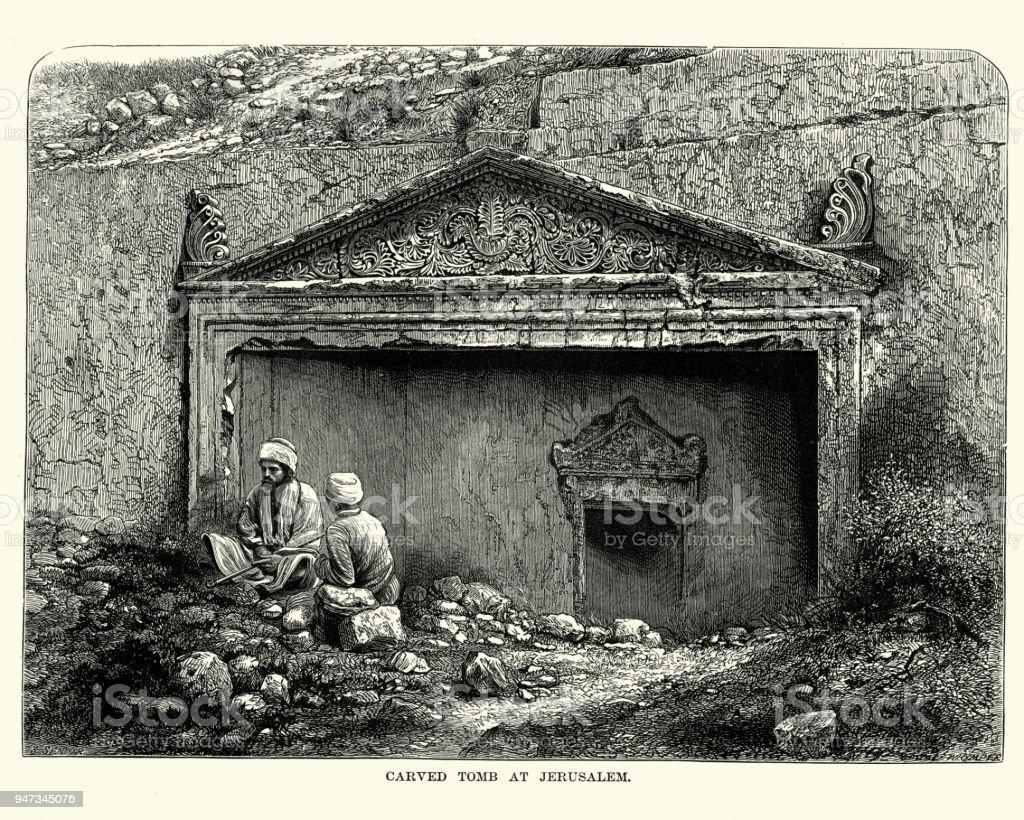 Ancient carved tomb, Jerusalem, 19th Century vector art illustration