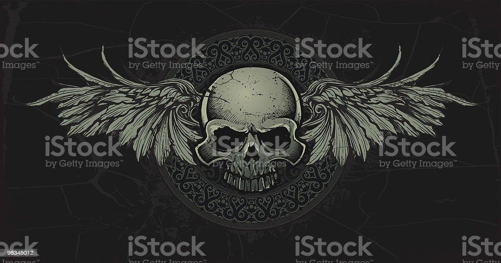 Antica Celtic Teschio con ali Medallian antica celtic teschio con ali medallian - immagini vettoriali stock e altre immagini di ala di animale royalty-free