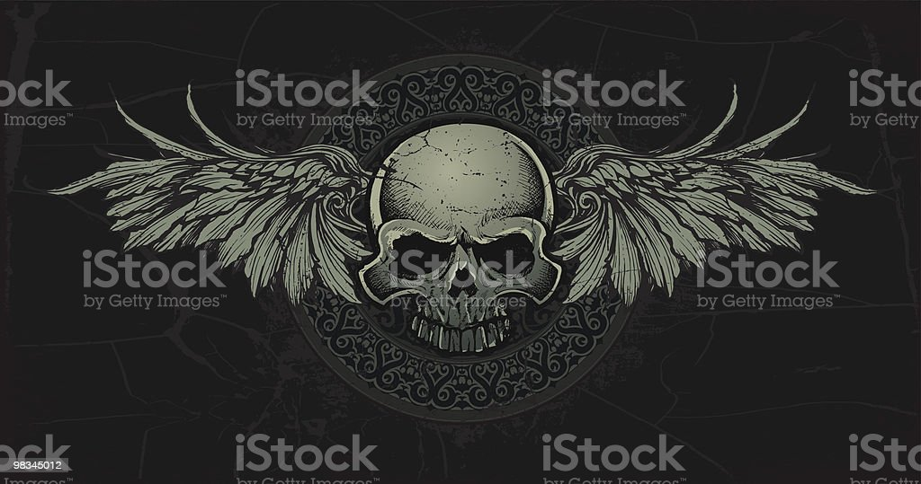 Ancient Celtic Skull with Wings Medallian vector art illustration