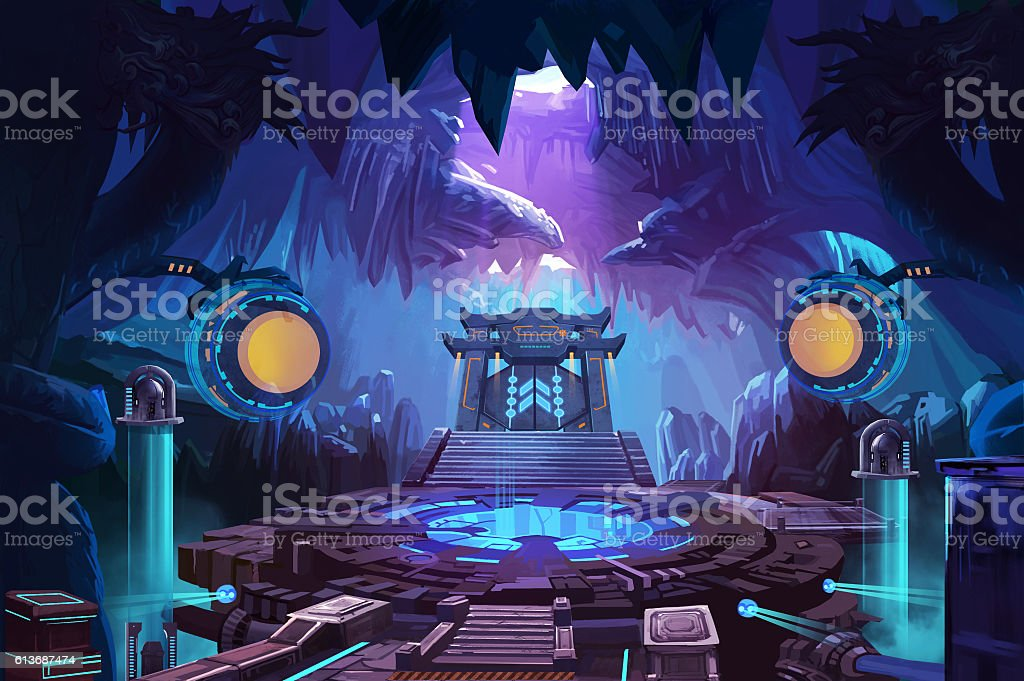 Ancient Chinese Mystery Cave with Science Fiction Building vector art illustration