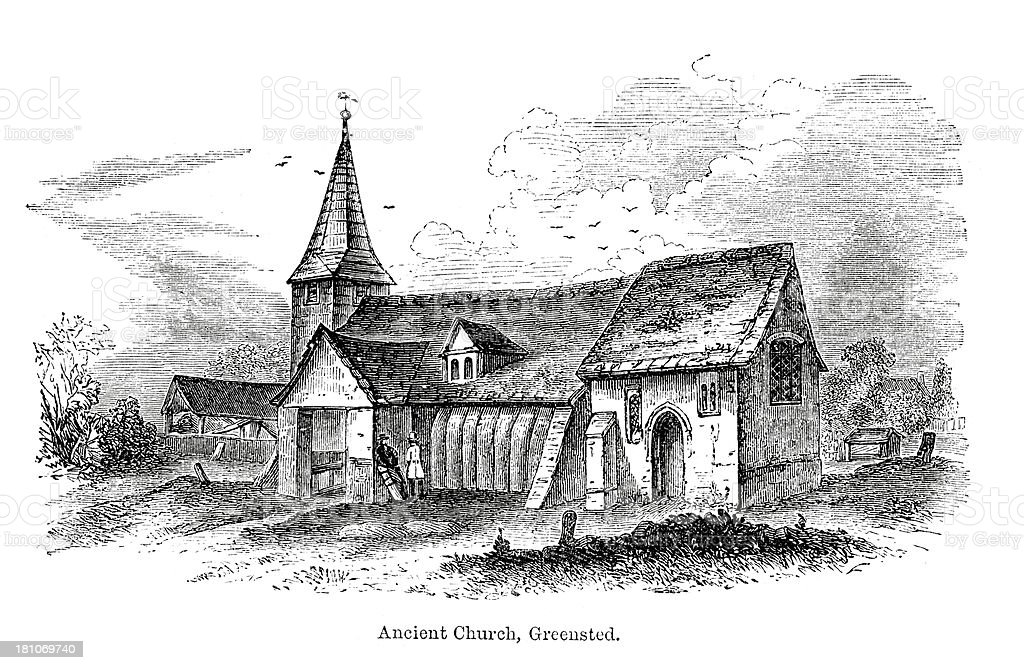 Ancient Church, Greensted royalty-free stock vector art