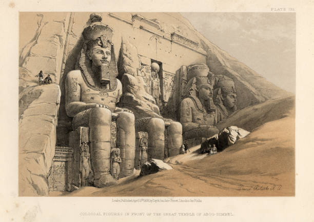 Ancient colossal statues at Great Temple of Abu Simbel, Egypt vector art illustration