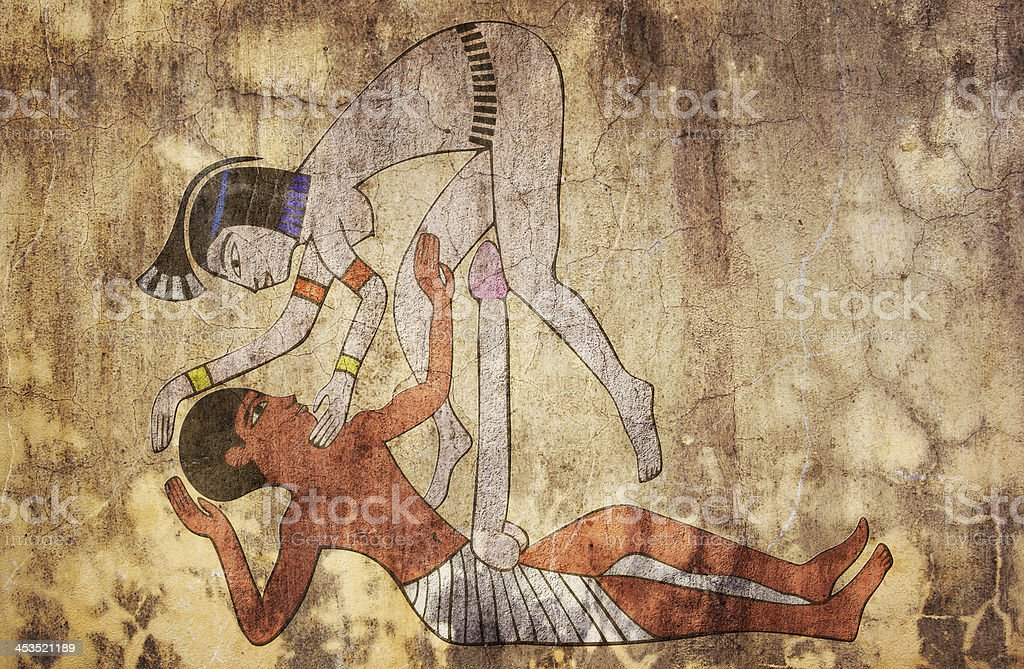 ancient Egypt - erotic drawing looks like fresco vector art illustration