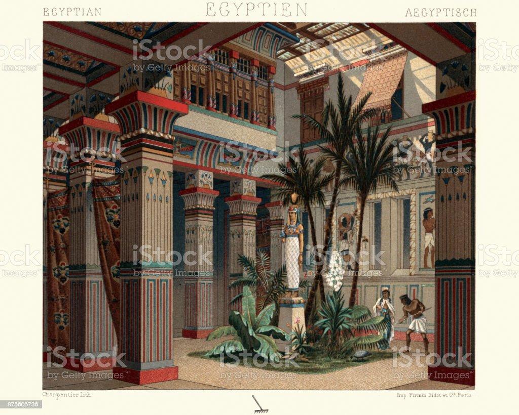Ancient egypt - internal courtyard of a dwelling vector art illustration