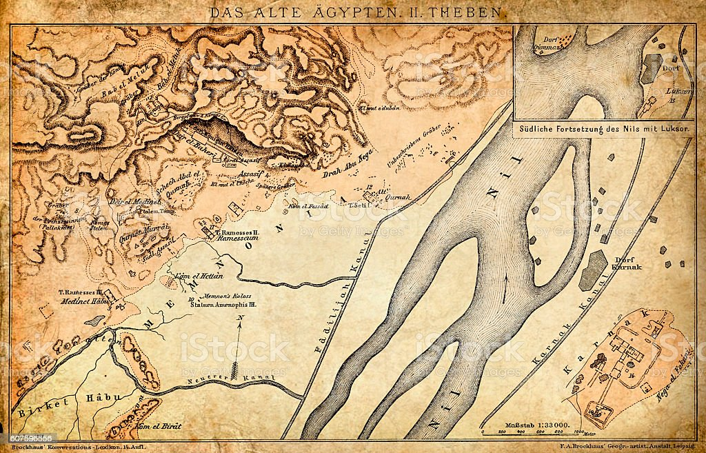 Ancient Egypt Map - Thebes vector art illustration