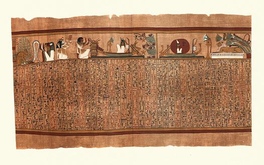 Ancient Egypt, Papyrus of Ani,  Sun god Ra slaying serpent