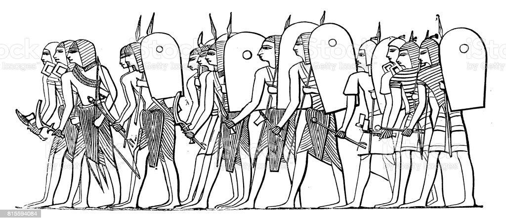Ancient Egypt warrior army vector art illustration