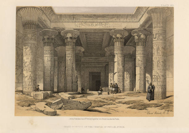 Ancient Egyptian Architecture, Grand Portico of Temple of Philae, Nubia Vintage engraving of Grand Portico of the Temple of Philae, Nubia. David Roberts, The Holy Land, Syria, Idumea, Arabia, Egypt and Nubia. ancient egyptian culture stock illustrations