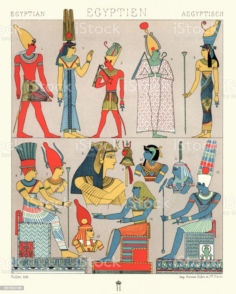 Ancient egyptian costumes, Divine and Rural Finery vector art illustration