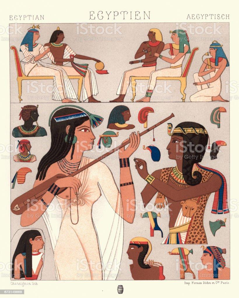 Ancient egyptian fashions vector art illustration
