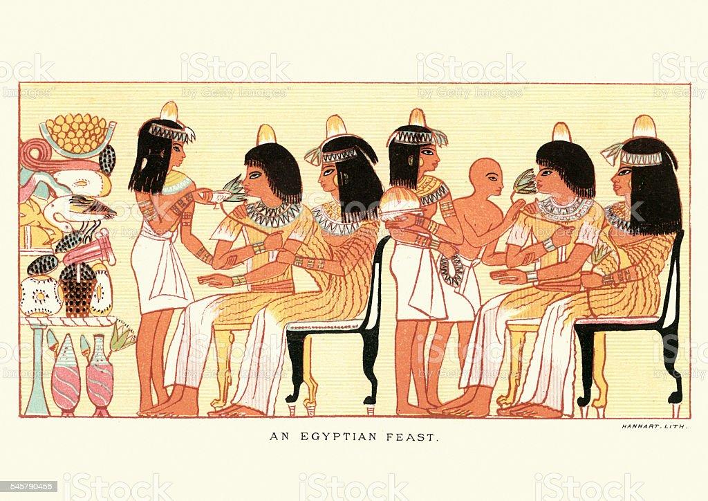 Ancient egyptian feast vector art illustration