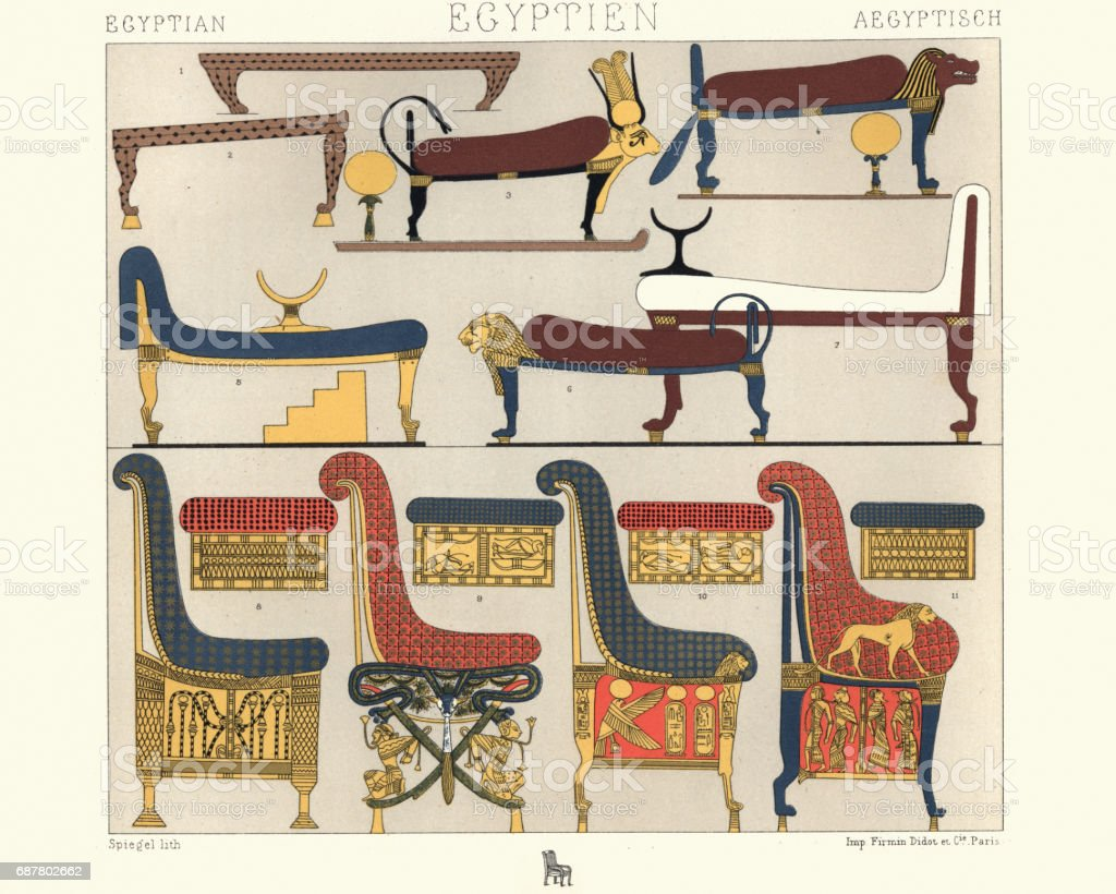 Ancient Egyptian Furniture Beds Divans And Thrones Stock