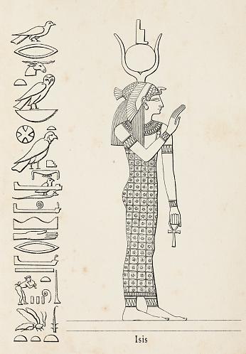 Ancient egyptian hieroglyph of major goddess Isis