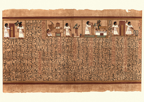 Ancient Egyptian Papyrus, Ani entering a doorway to netherworld