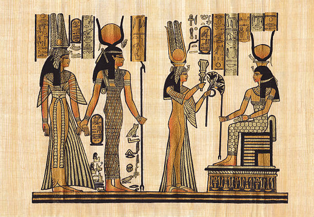 ancient Egyptian papyrus  ancient egyptian culture stock illustrations