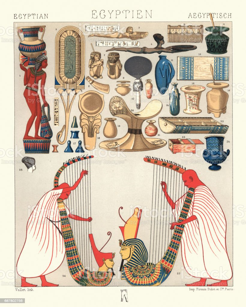 Ancient egyptian utensils and domestic objects harp musicians vector art illustration