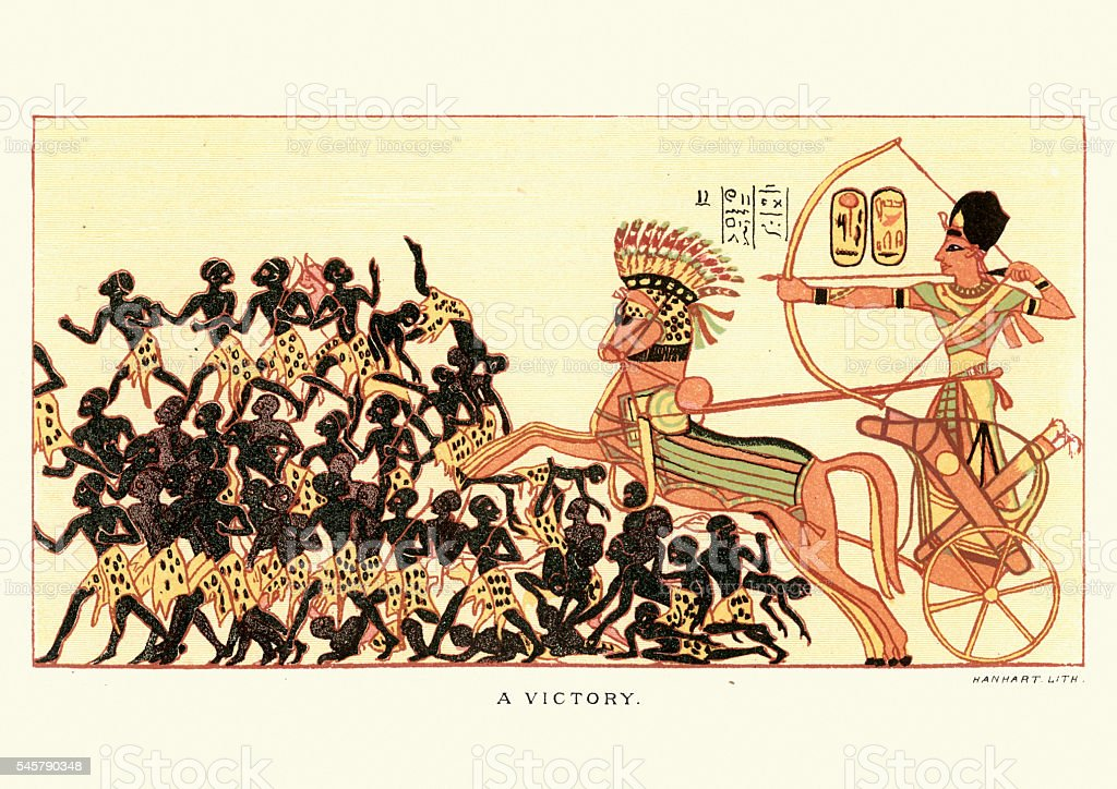 Ancient egyptian victory over african warriors vector art illustration