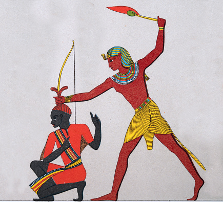 Ancient Egyptian warrior executing a prisoner of war