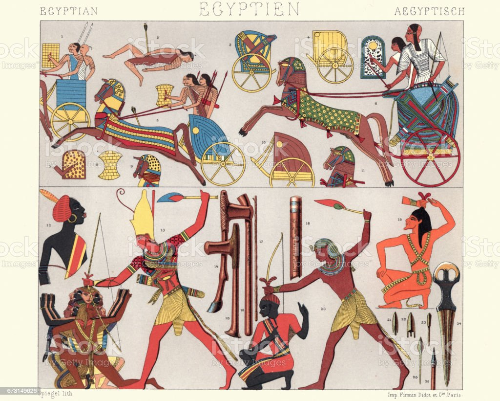 Ancient egyptian warriors and chariots vector art illustration