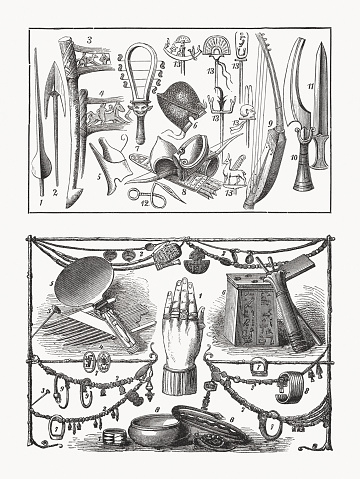 Ancient Egyptian weapons and Jewelry items, wood engravings, published 1893