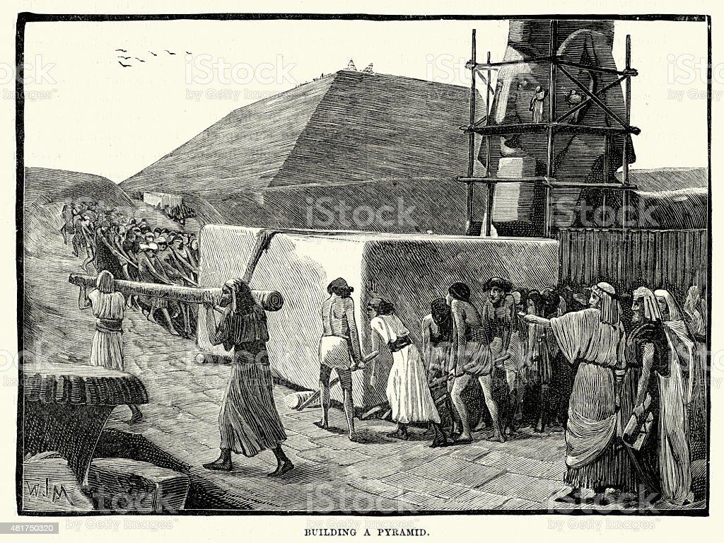 Ancient Egyptians building a Pyramid vector art illustration