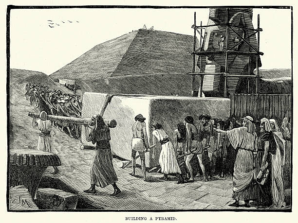 Ancient Egyptians building a Pyramid Vintage engraving of Ancient Egyptians building a Pyramid ancient egyptian culture stock illustrations