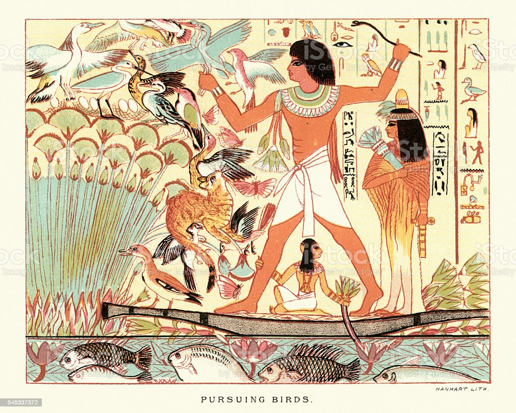 Ancient egyptians hunting birds vector art illustration