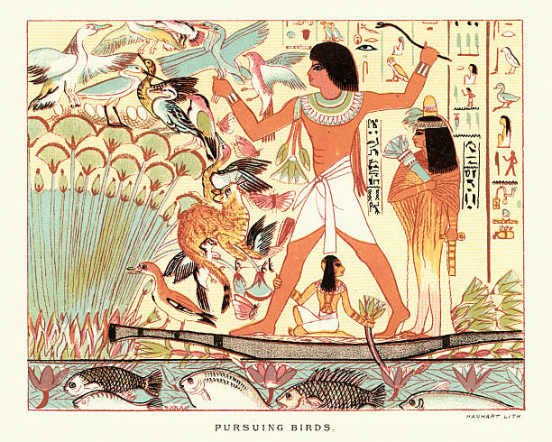 Ancient egyptians hunting birds Vintage engraving of Ancient egyptians hunting birds ancient egyptian culture stock illustrations