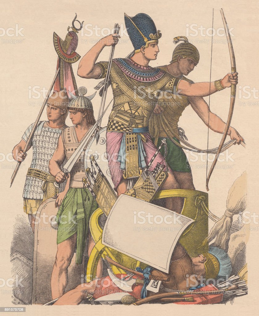 Ancient egyptians warriors, hand-colored wood engraving, published c. 1880 vector art illustration