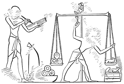 Ancient Egyptians Weighing Ring Currency