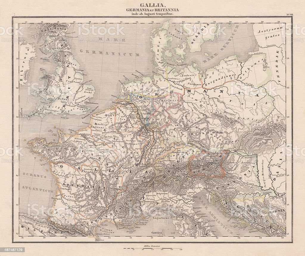 Ancient Europe under Emporer Augstus (63 BC-14 AD), published 1861 vector art illustration