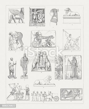 Ancient European and Middle East Sculptures: 1) Lamassu from Dur-Sharrukin (Louvre Museum, Paris); 2) Metope of Temple C at Selinunte with Perseus and the Gorgon, Sicily, Italy; 3) Relief from Damanhur, Egypt; 4) Sphinx from Thebes, Egypt; 5) Relief from Persepolis (Iran); 6) King in the hunt, stone panel from the Palace of Ashurnasirpal II, Nimrud Palace Reliefs (British Museum, London); 7) Relief from Thebes, Egypt; 8) Wooden statue of Sheikh Al Balad (Gizeh Museum, Egypt) 9) Antenor Kore (Athens Acropolis Museum; Greece); 10) Lion Gate in Mycenae (Argolid, Greece); 11) Egyptian lion sculpture from the Temple of Isis (Vatican Museum); 12) North-West Royal Palace of Ashurnasirpal II Nimrud, Mesopotamia (Iraq); 13) Relief of King Ashurnasirpal, Nimrud,  Mesopotamia (Iraq); 14) Pharah kills his enemies, relief from the Temple of Abu Simbel, Egypt; 15) People paying tribute, relief from Persepolis (Iran); 16) IIvory relief from Corneto, etruscan sculpture. Wood engravings, published in 1897.
