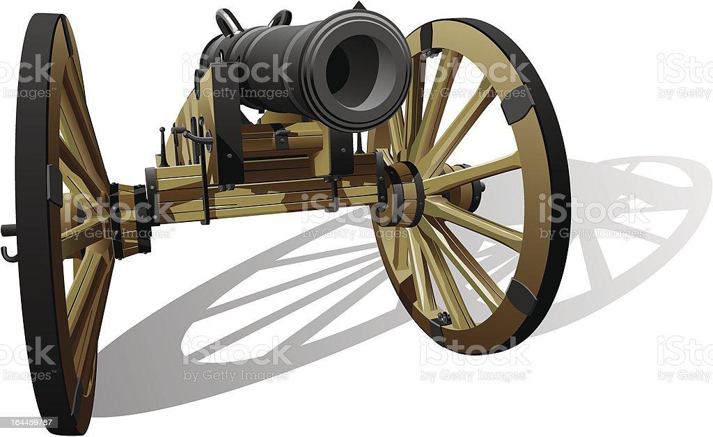 ancient field gun vector art illustration